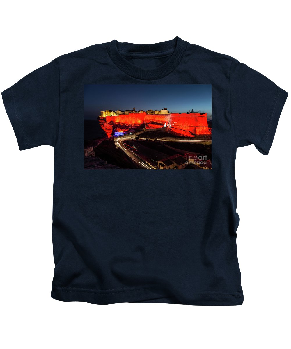 Bonifa Kids T-Shirt featuring the photograph Bonifacio Fortress At Night by Didier Marti