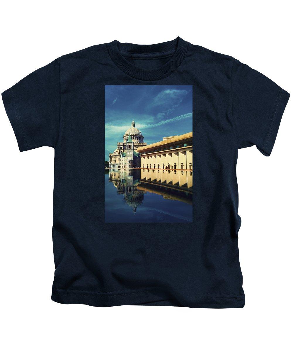 Boston Cityscape Christian Science Church Reflection Blue Sky Kids T-Shirt featuring the photograph Boston by Brandon Hunter
