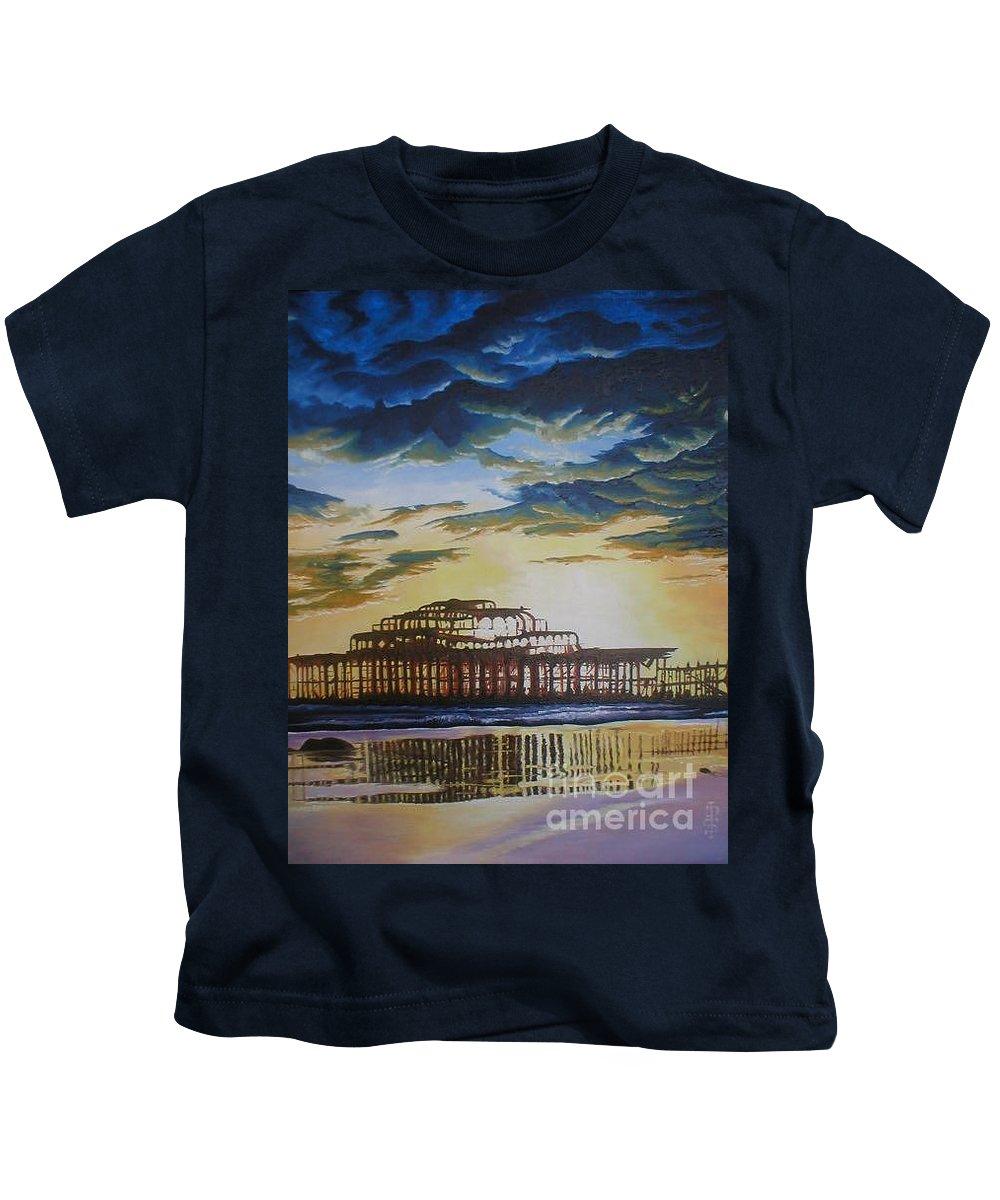 Brighton West Pier Derelict Victorian Sad Beach Sand Sunset Kids T-Shirt featuring the painting Brighton West Pier by Pauline Sharp