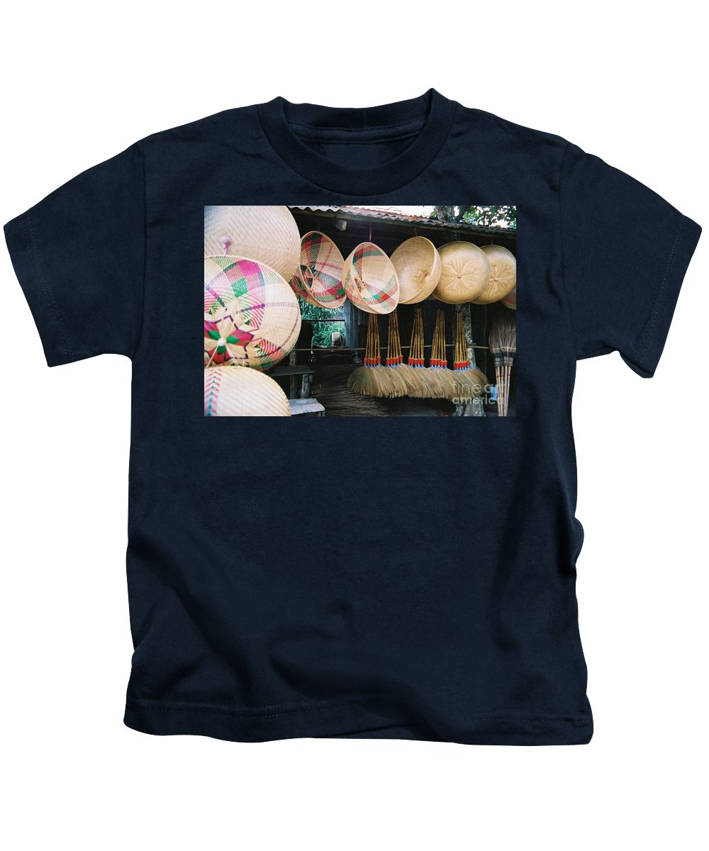 Baskets Kids T-Shirt featuring the photograph Brooms And Baskets by Mary Rogers