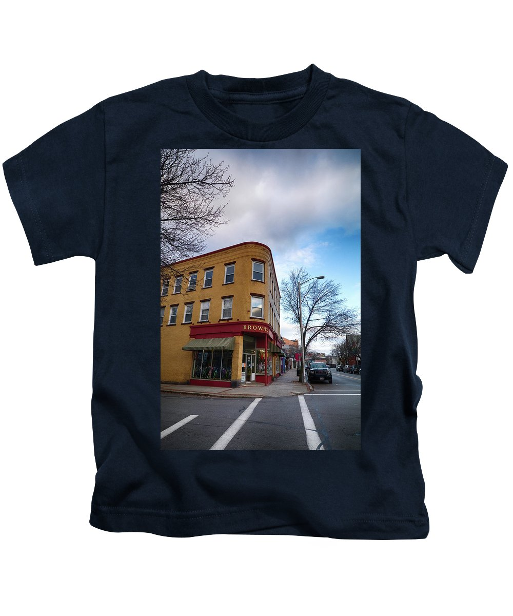 #jefffolger Kids T-Shirt featuring the photograph Browns Bike Store by Jeff Folger