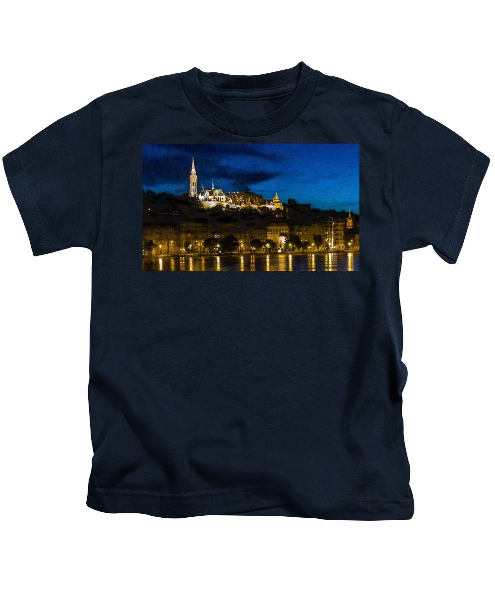 River Kids T-Shirt featuring the painting Budapest - Id 16236-104947-3830 by S Lurk