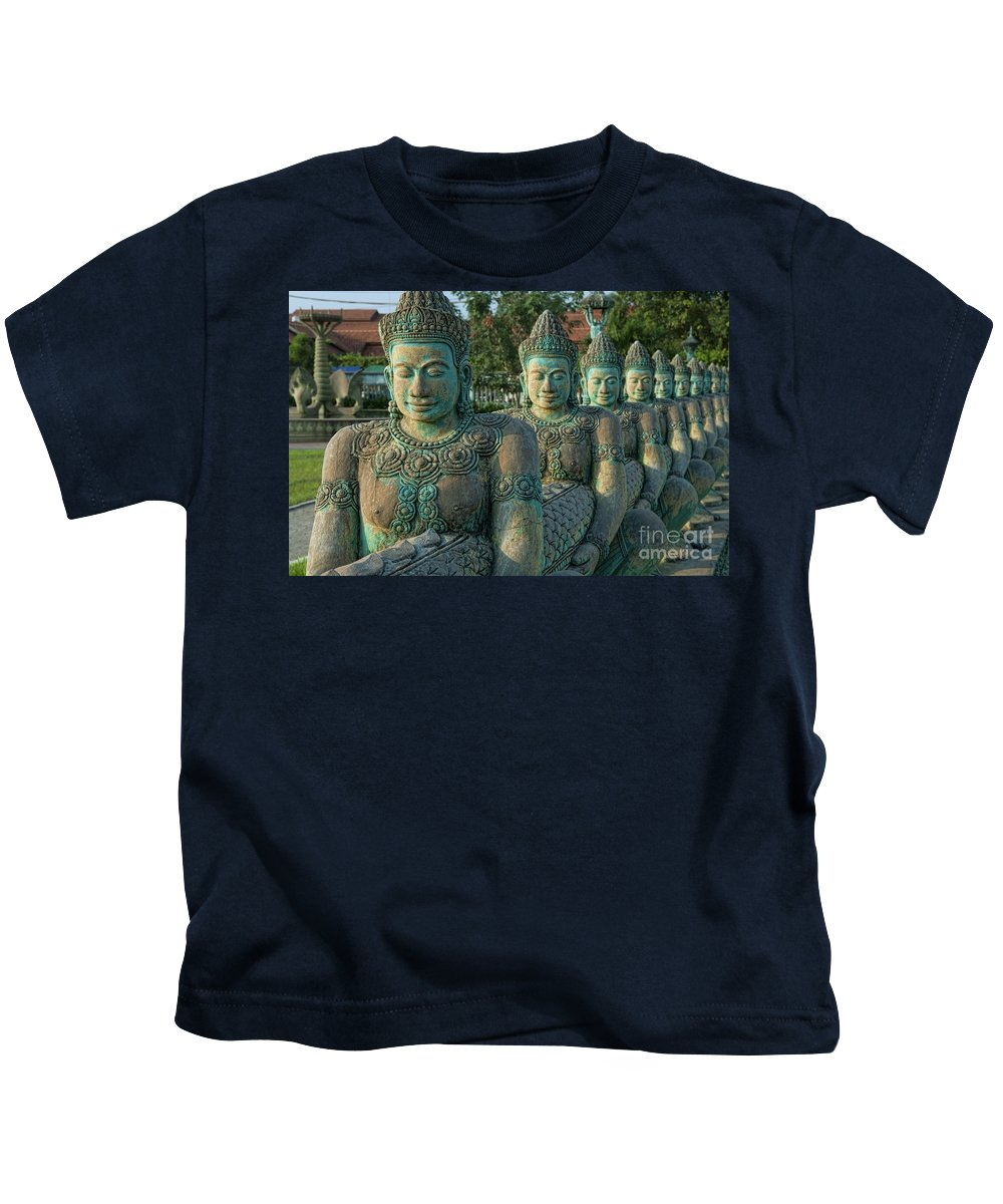 Art Kids T-Shirt featuring the photograph Buddhas All In A Row by Bill Bachmann - Printscapes