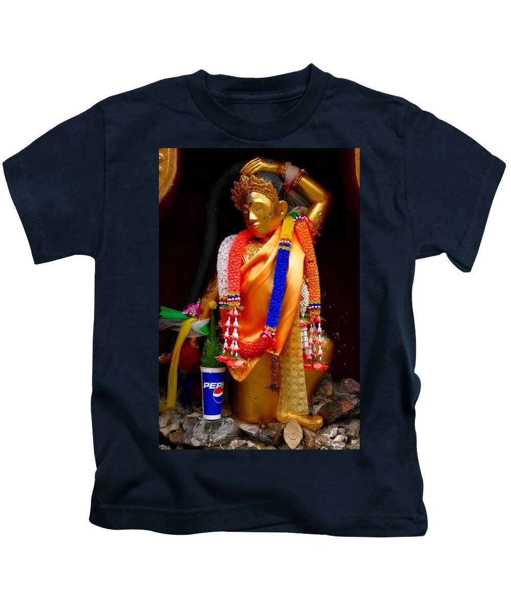 Buddism Kids T-Shirt featuring the photograph Buddism And Pepsi Shrine by Minaz Jantz