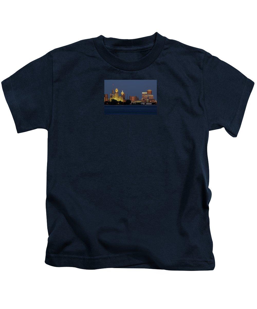 Buffalo Kids T-Shirt featuring the photograph Buffalo Blue Hour by Linda Joyce