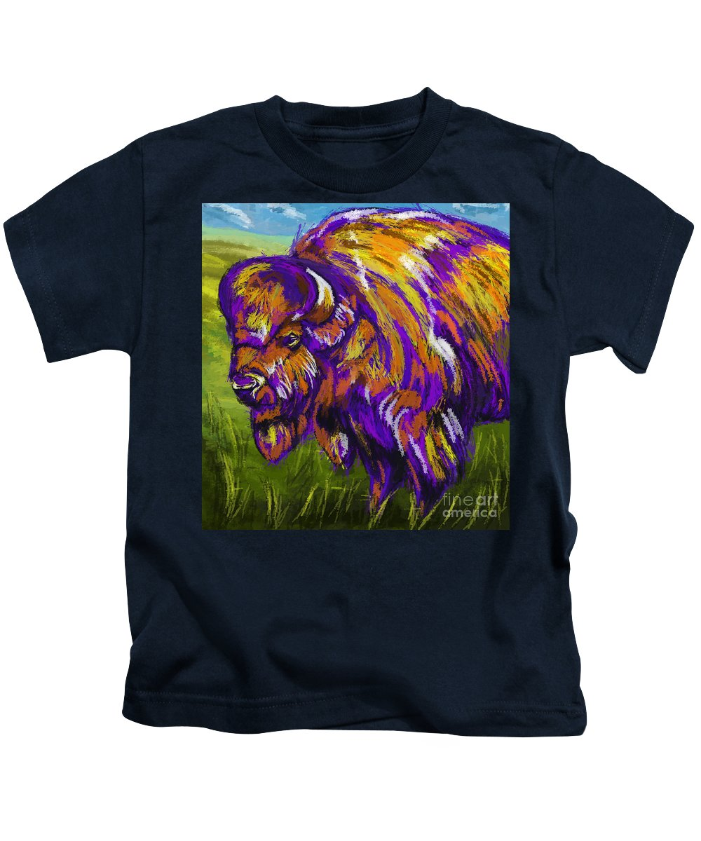 Buffalo Kids T-Shirt featuring the painting Buffalo by Tim Gilliland