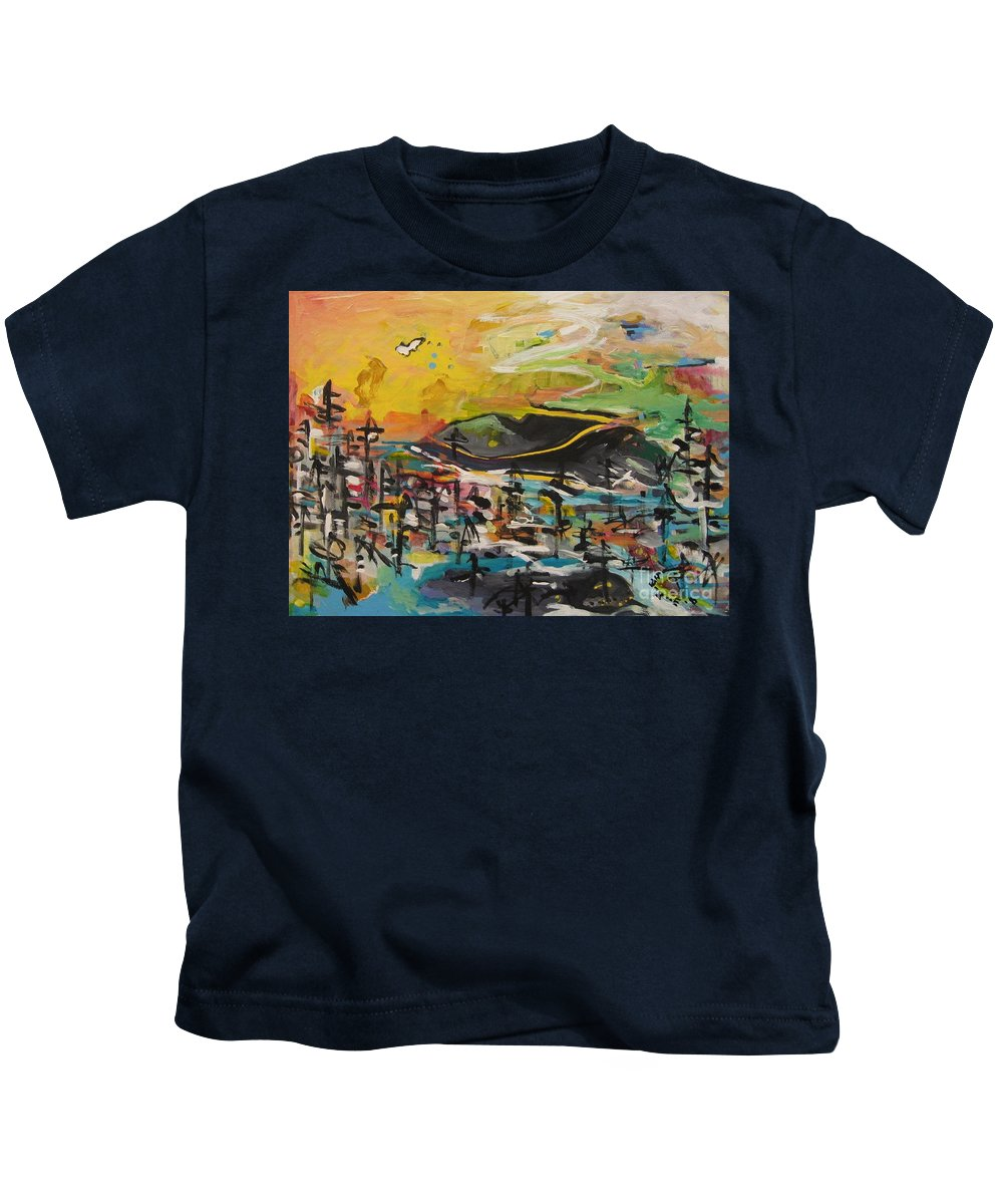 Abstract Paintings Kids T-Shirt featuring the painting Bummer Flat2 by Seon-Jeong Kim