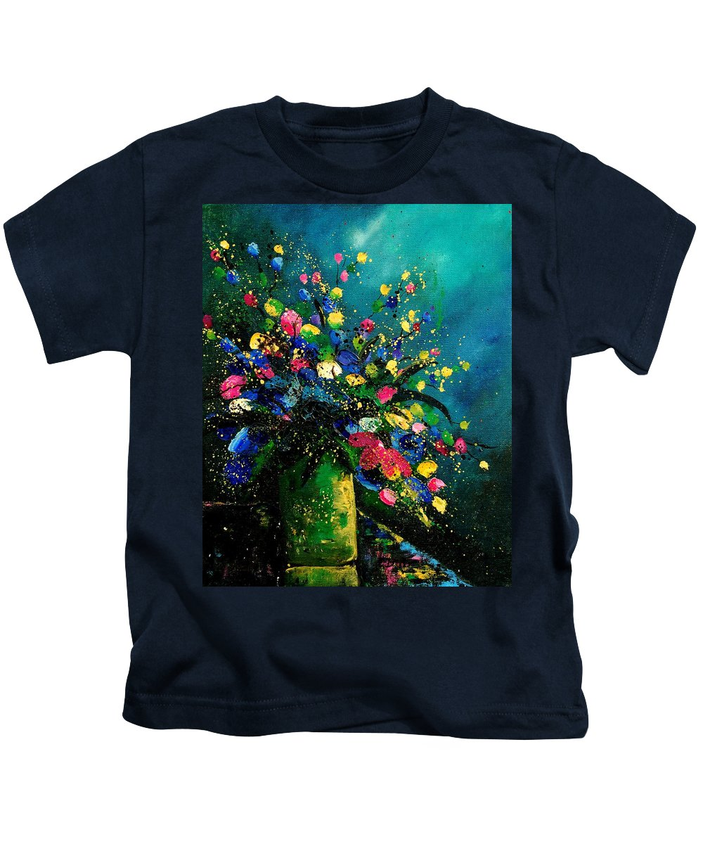 Flowers Kids T-Shirt featuring the painting Bunch 0807 by Pol Ledent