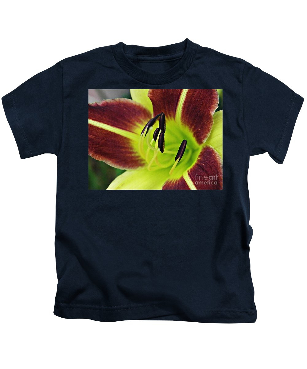 Lily Kids T-Shirt featuring the photograph Burgundy And Yellow Lily by Sarah Loft