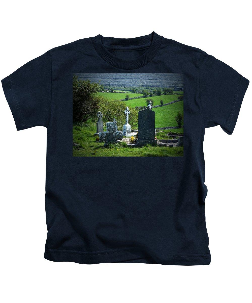 Irish Kids T-Shirt featuring the photograph Burren Crosses County Clare Ireland by Teresa Mucha