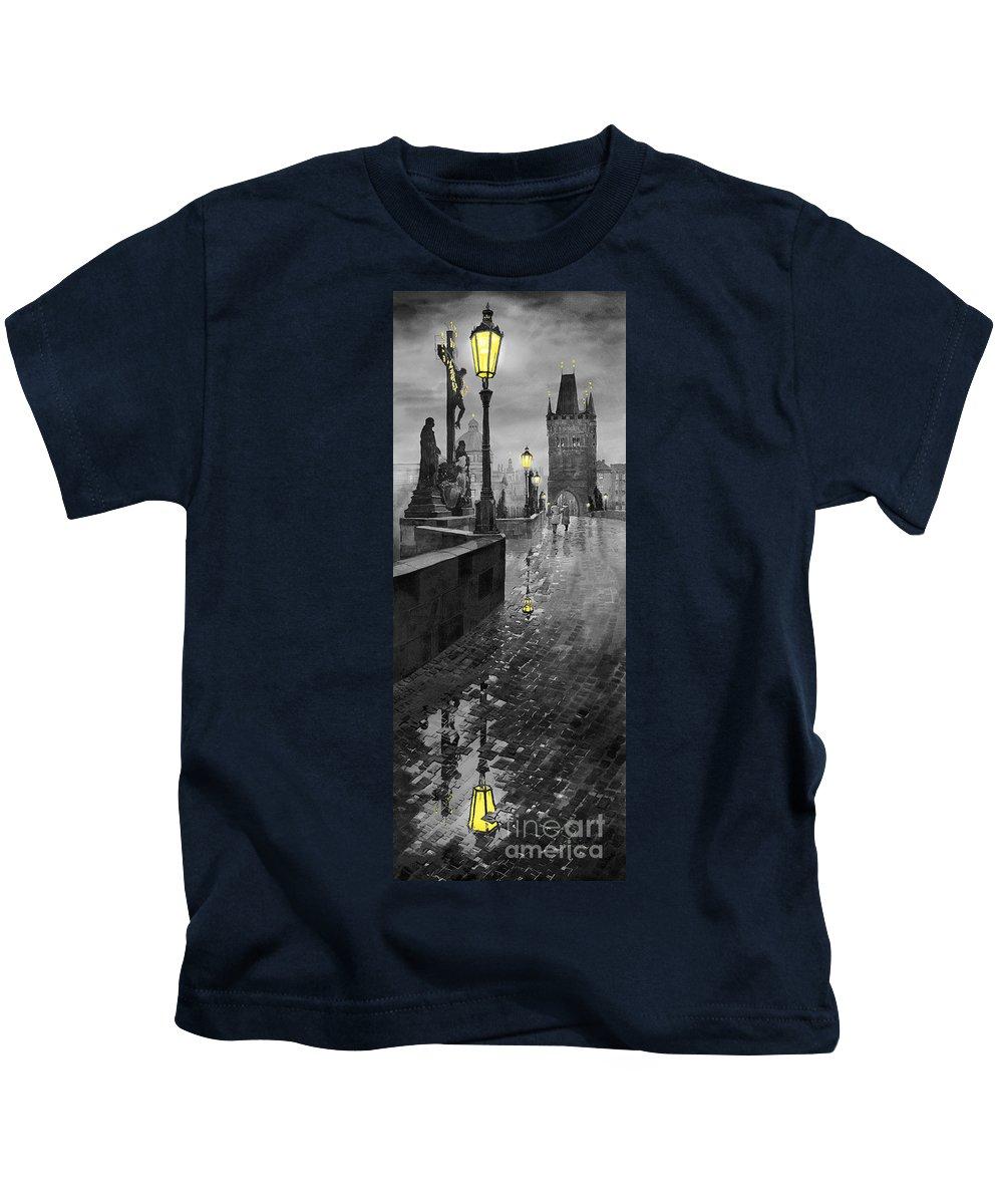 Prague Kids T-Shirt featuring the painting Bw Prague Charles Bridge 01 by Yuriy Shevchuk