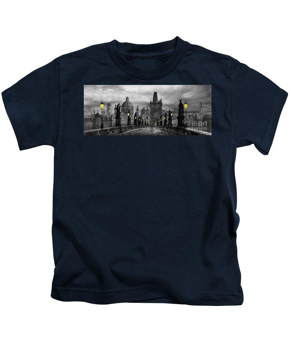 Prague Kids T-Shirt featuring the painting Bw Prague Charles Bridge 04 by Yuriy Shevchuk