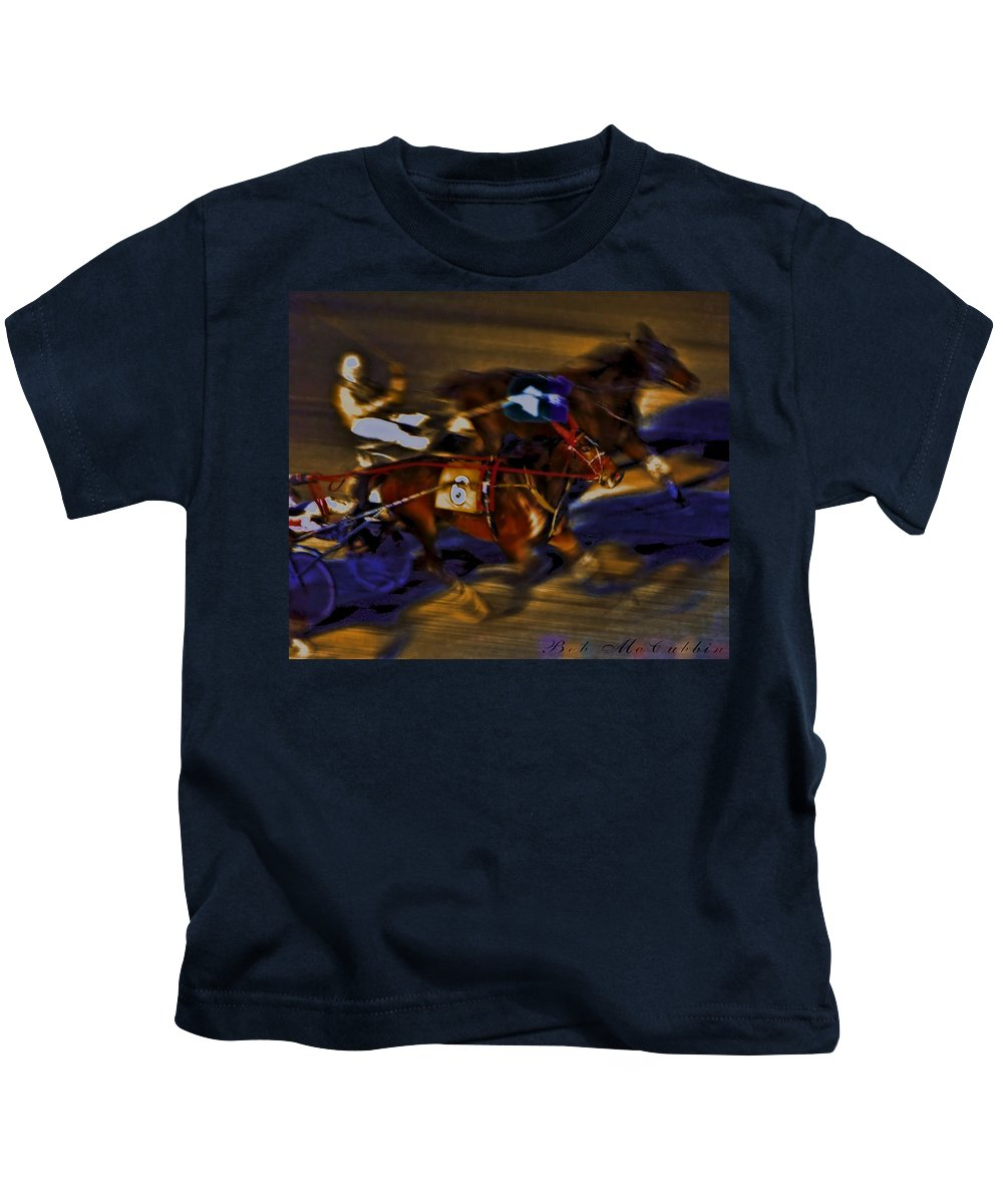Horse Racing Kids T-Shirt featuring the photograph By A Nose 2 by Robert McCubbin