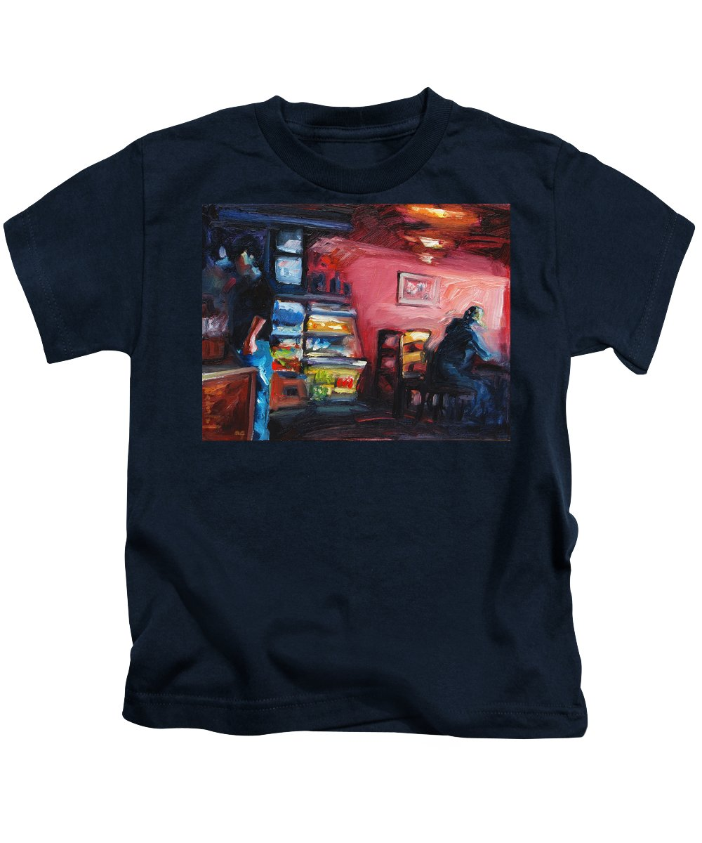 Cafe Kids T-Shirt featuring the painting Cafe Boulange by Rick Nederlof