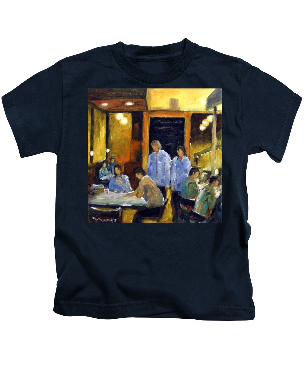 Urban Kids T-Shirt featuring the painting Cafe Des Artistes by Richard T Pranke