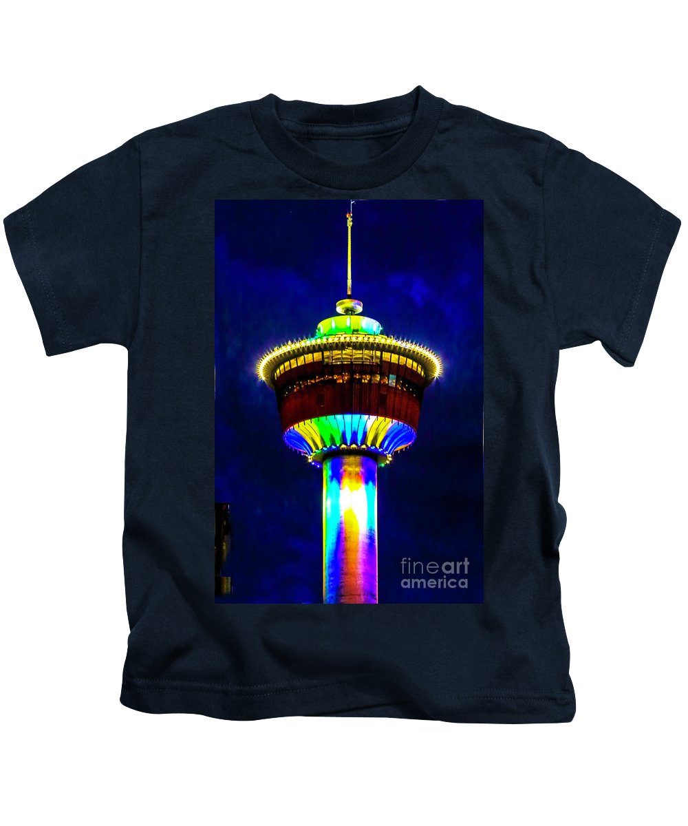 Calgary Tower Kids T-Shirt featuring the photograph Calgary Tower At Night by Edita De Lima