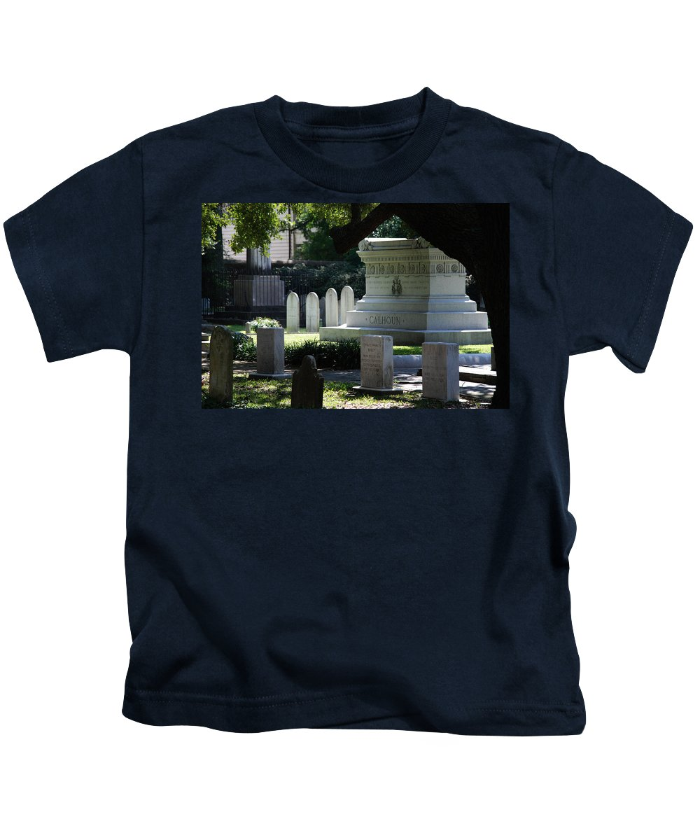 Photography Kids T-Shirt featuring the photograph Calhoun Is A Big Name In Charleston by Susanne Van Hulst