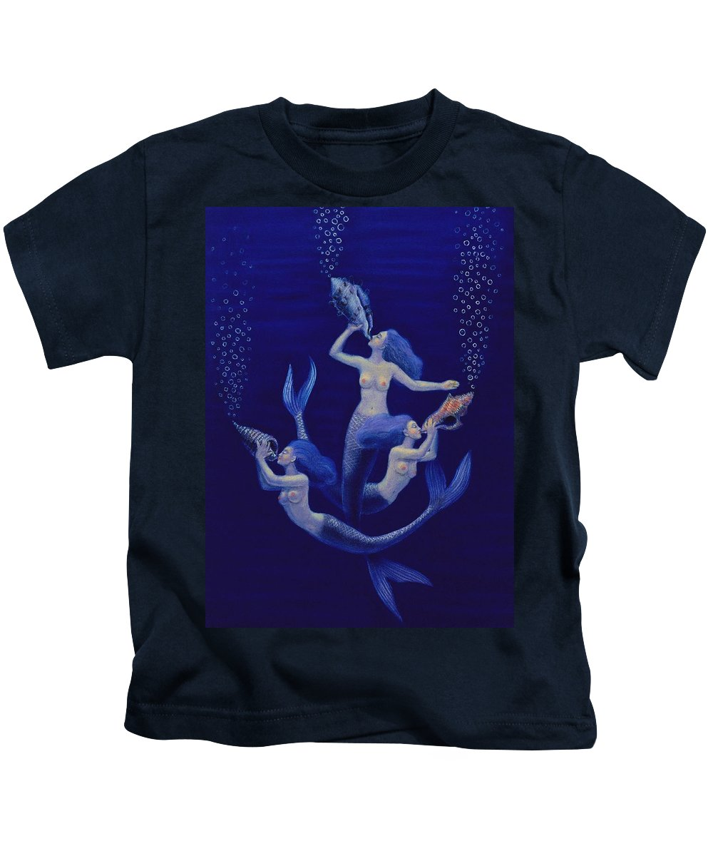 Mermaids Kids T-Shirt featuring the painting Call Of The Mermaids by Sue Halstenberg