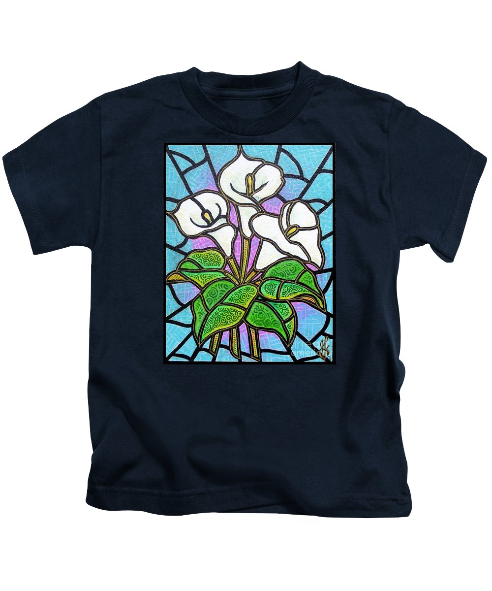 Flowers Kids T-Shirt featuring the painting Calla Lilies 3 by Jim Harris