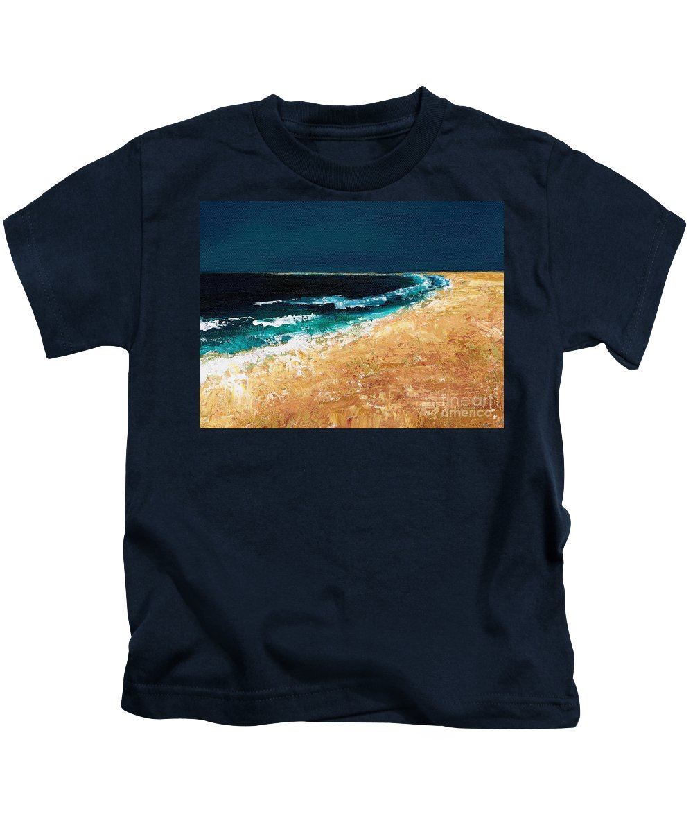 Ocean Tide Kids T-Shirt featuring the painting Calming Waters by Frances Marino