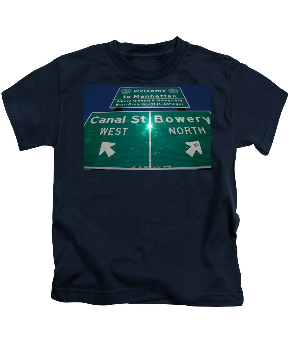 Pop Art Kids T-Shirt featuring the photograph Canal And Bowery by Rob Hans