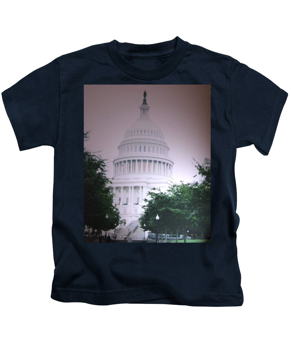 Capitol Kids T-Shirt featuring the photograph Capitol In Pink by Pharris Art