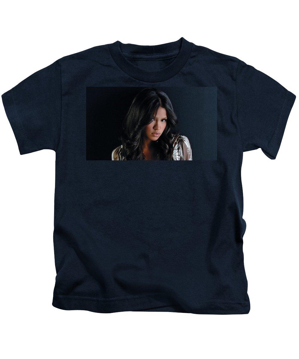 Cassie Kids T-Shirt featuring the digital art Cassie by Dorothy Binder