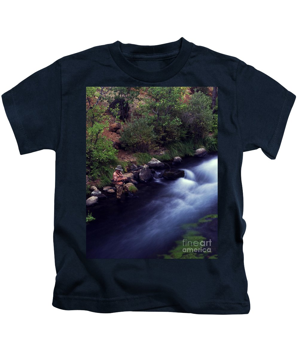 Fishing Kids T-Shirt featuring the photograph Casting Softly by Peter Piatt