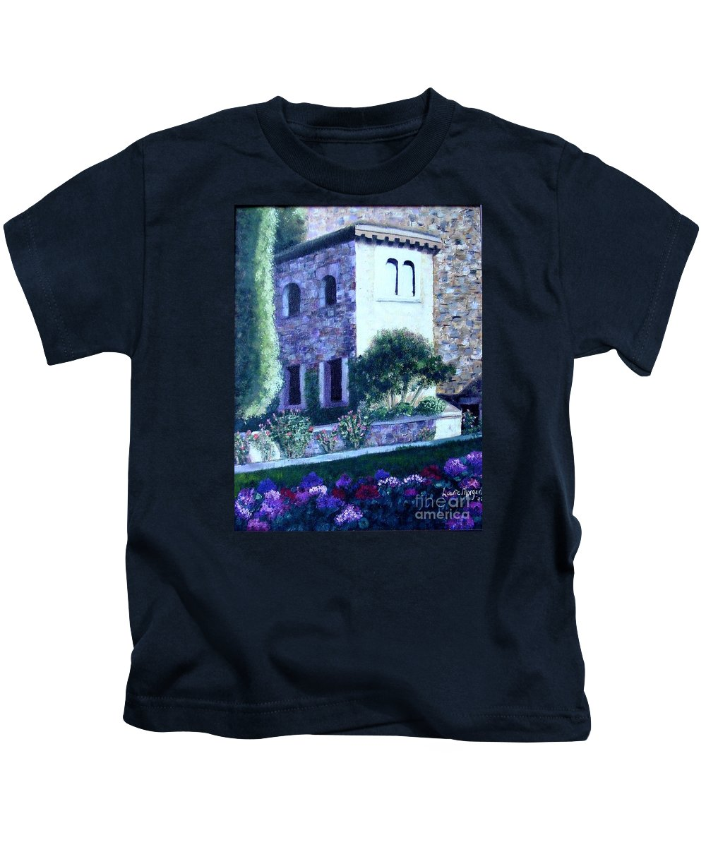 Italy Kids T-Shirt featuring the painting Castle Sestri Levante by Laurie Morgan