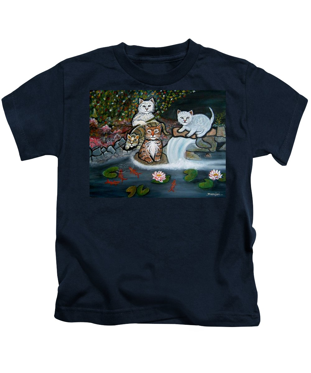 Acrylic Art Landscape Cats Animals Figurative Waterfall Fish Trees Kids T-Shirt featuring the painting Cats In The Wild by Manjiri Kanvinde