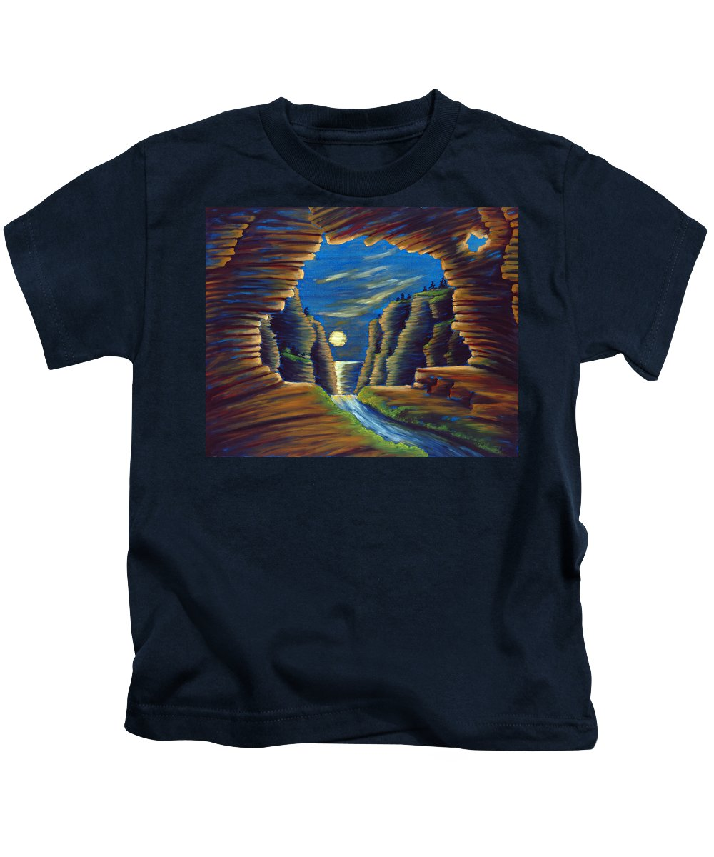Cave Kids T-Shirt featuring the painting Cave With Cliffs by Jennifer McDuffie