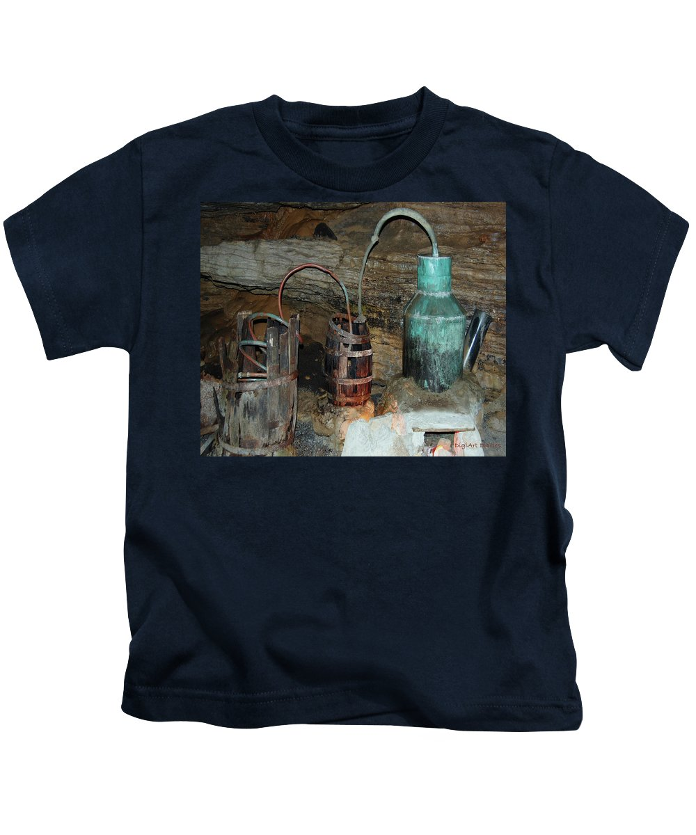 Caverns Kids T-Shirt featuring the photograph Caverness Moonshining by DigiArt Diaries by Vicky B Fuller