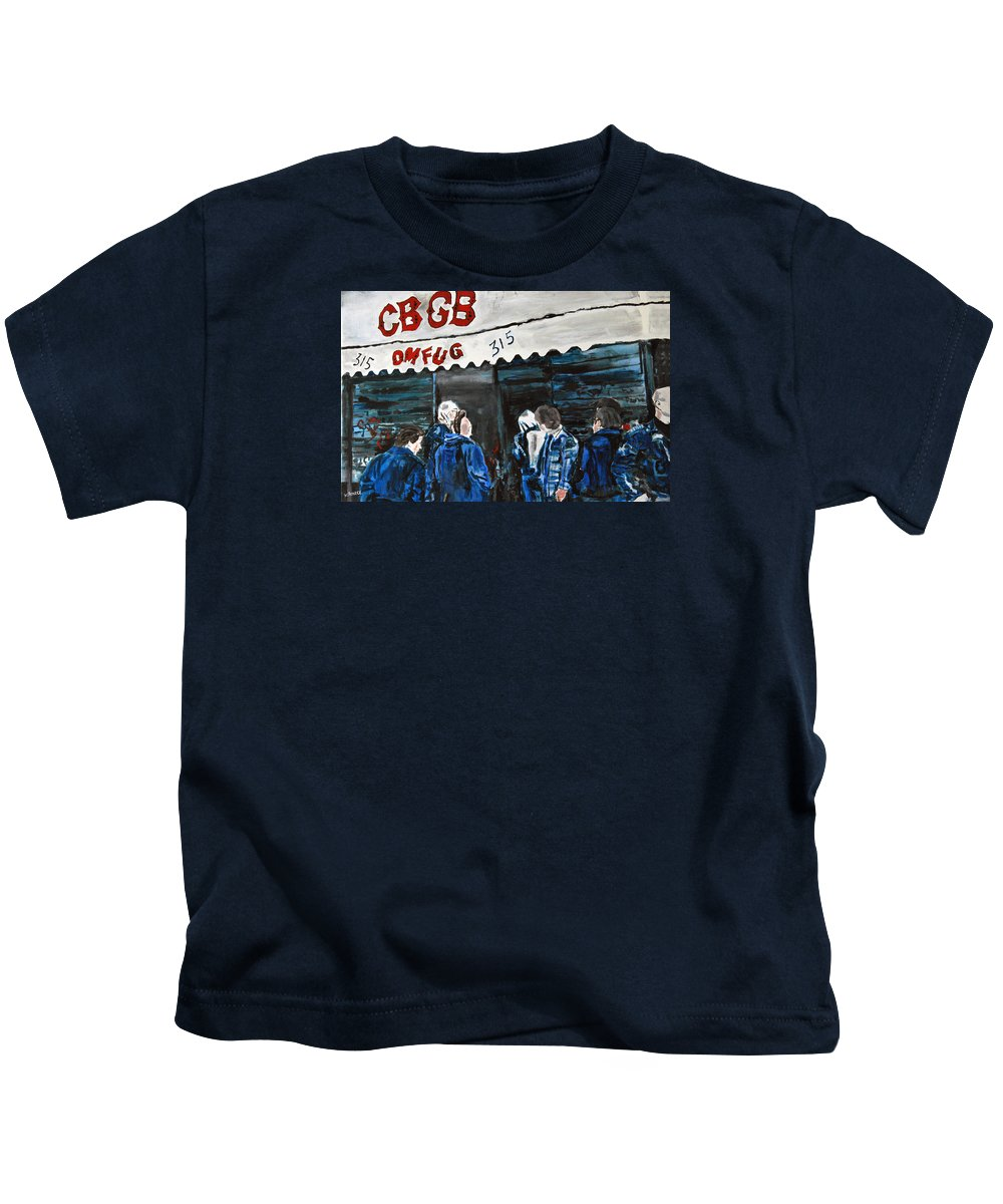 New York City Paintings Kids T-Shirt featuring the painting Cbgb's by Wayne Pearce