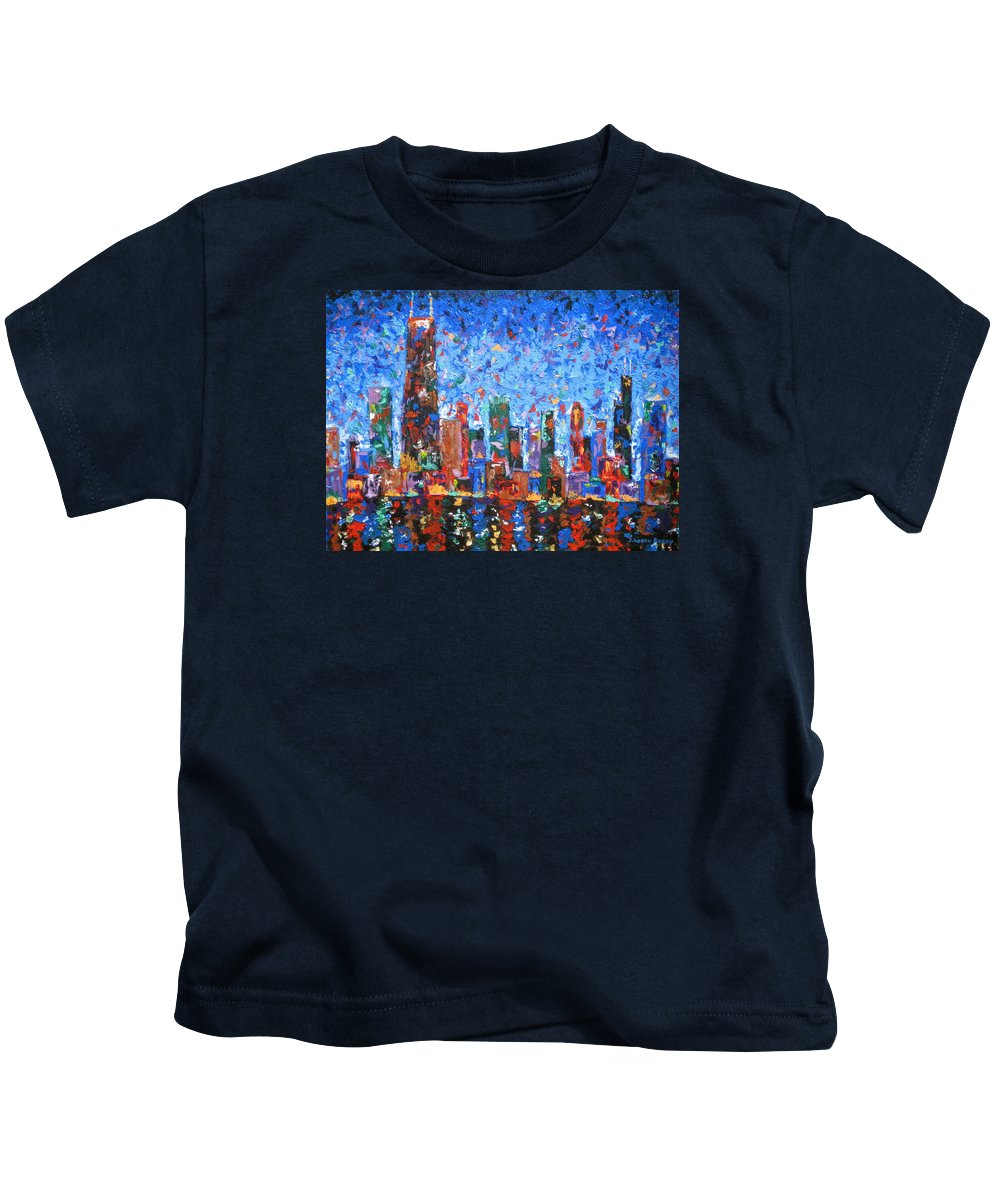City Skyline Kids T-Shirt featuring the painting Celebration City by J Loren Reedy