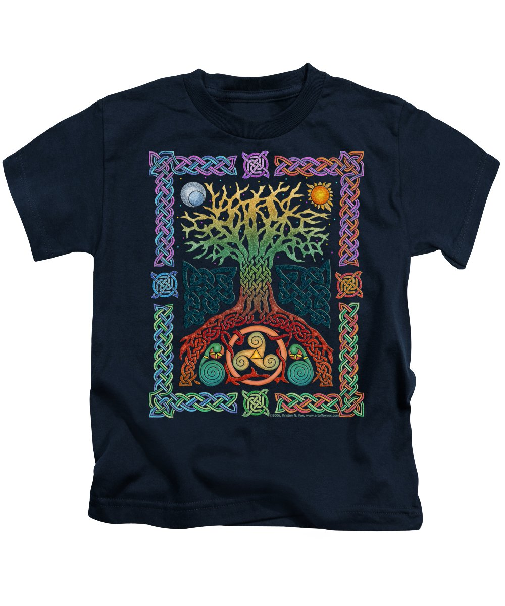 Artoffoxvox Kids T-Shirt featuring the mixed media Celtic Tree Of Life by Kristen Fox