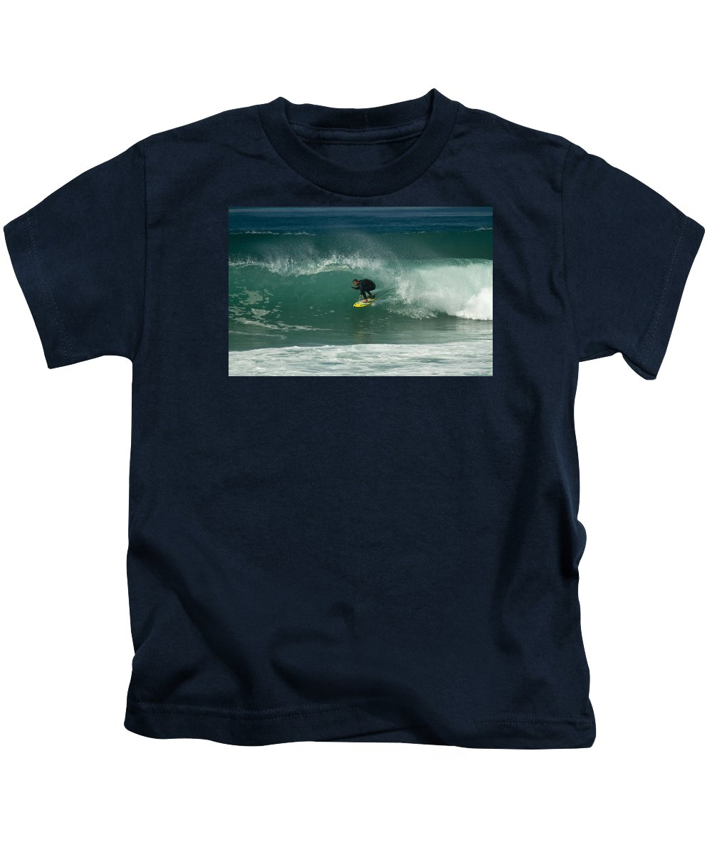 Surfer Kids T-Shirt featuring the photograph Charging The Closeout by Waterdancer