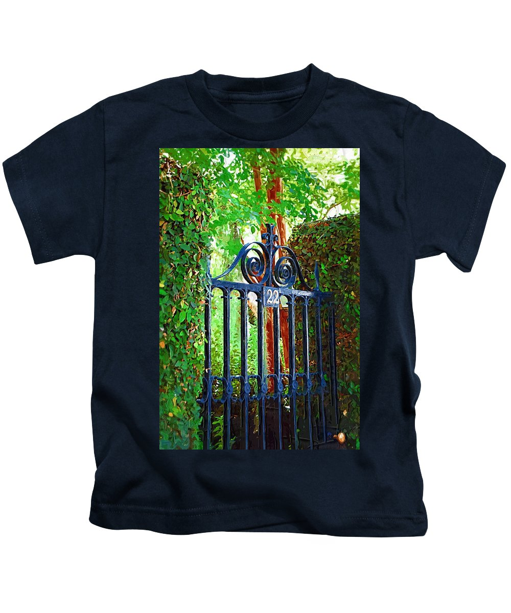 Fence Kids T-Shirt featuring the photograph Charleston Gate 1 by Donna Bentley