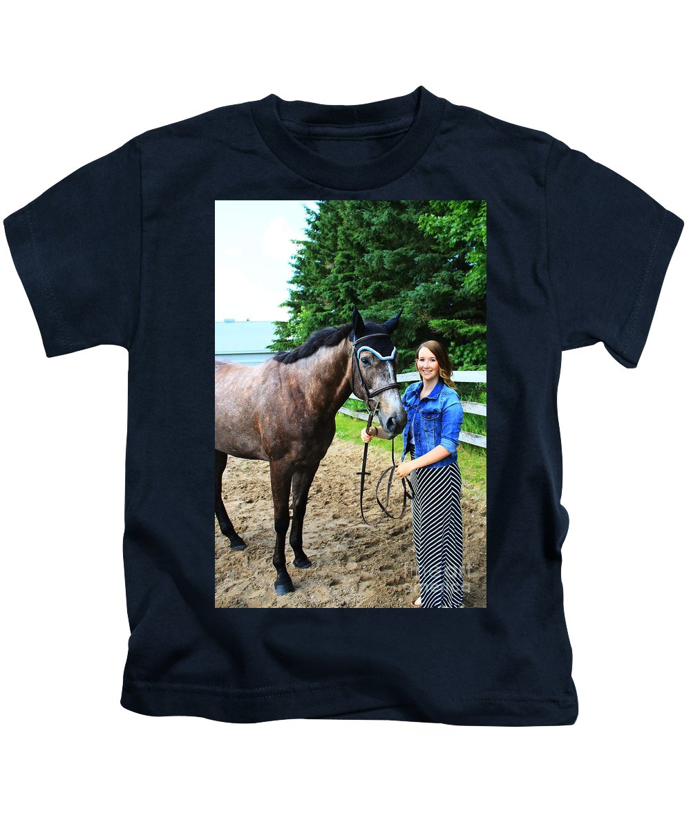 Kids T-Shirt featuring the photograph Charlotte-phil-15 by Life With Horses