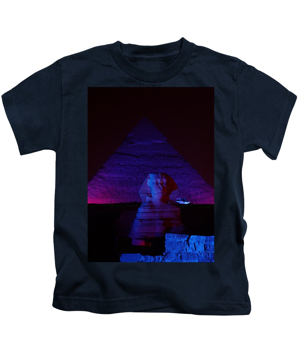 Pyramid Kids T-Shirt featuring the photograph Cheops In Blue by Donna Corless