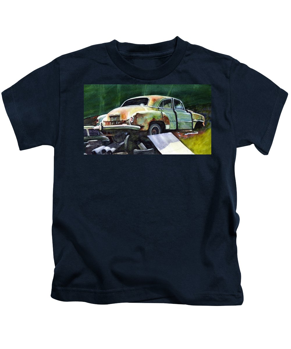 Chev Kids T-Shirt featuring the painting Chev At Rest by Ron Morrison