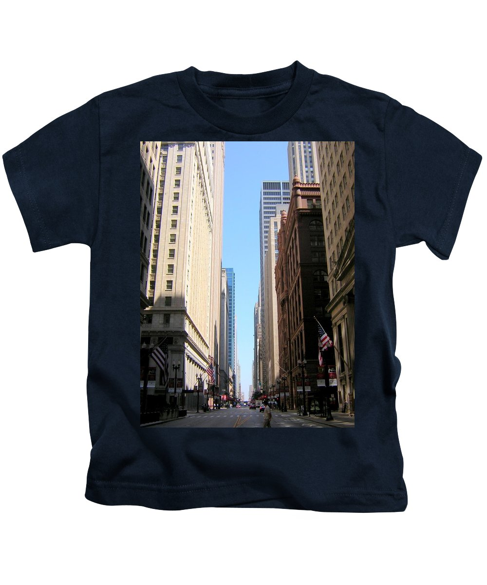 Chicago Kids T-Shirt featuring the photograph Chicago Street With Flags by Anita Burgermeister