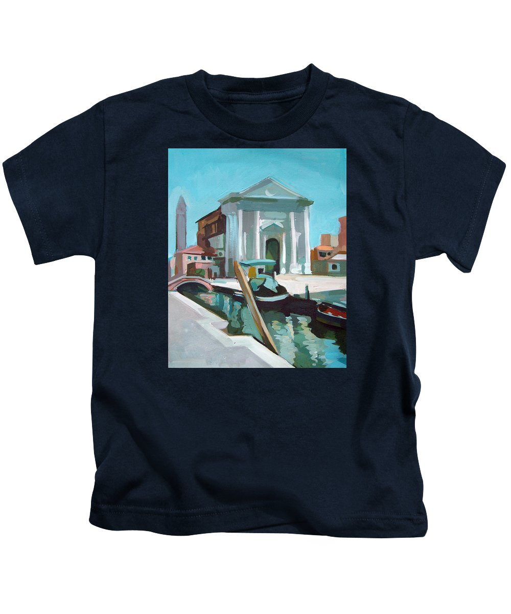 Venice Kids T-Shirt featuring the painting Chiesa San Barnaba by Filip Mihail