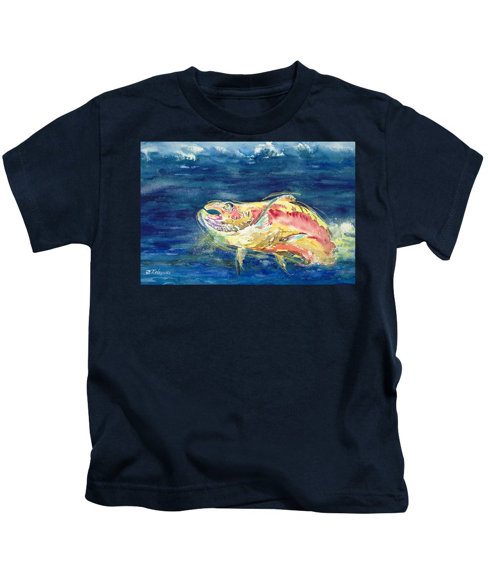 Animal Art Kids T-Shirt featuring the painting Chinook Salmon by Tanya L Haynes - Printscapes