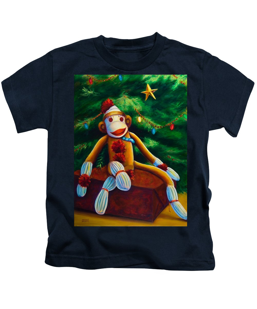 Sock Monkey Kids T-Shirt featuring the painting Christmas Made Of Sockies by Shannon Grissom