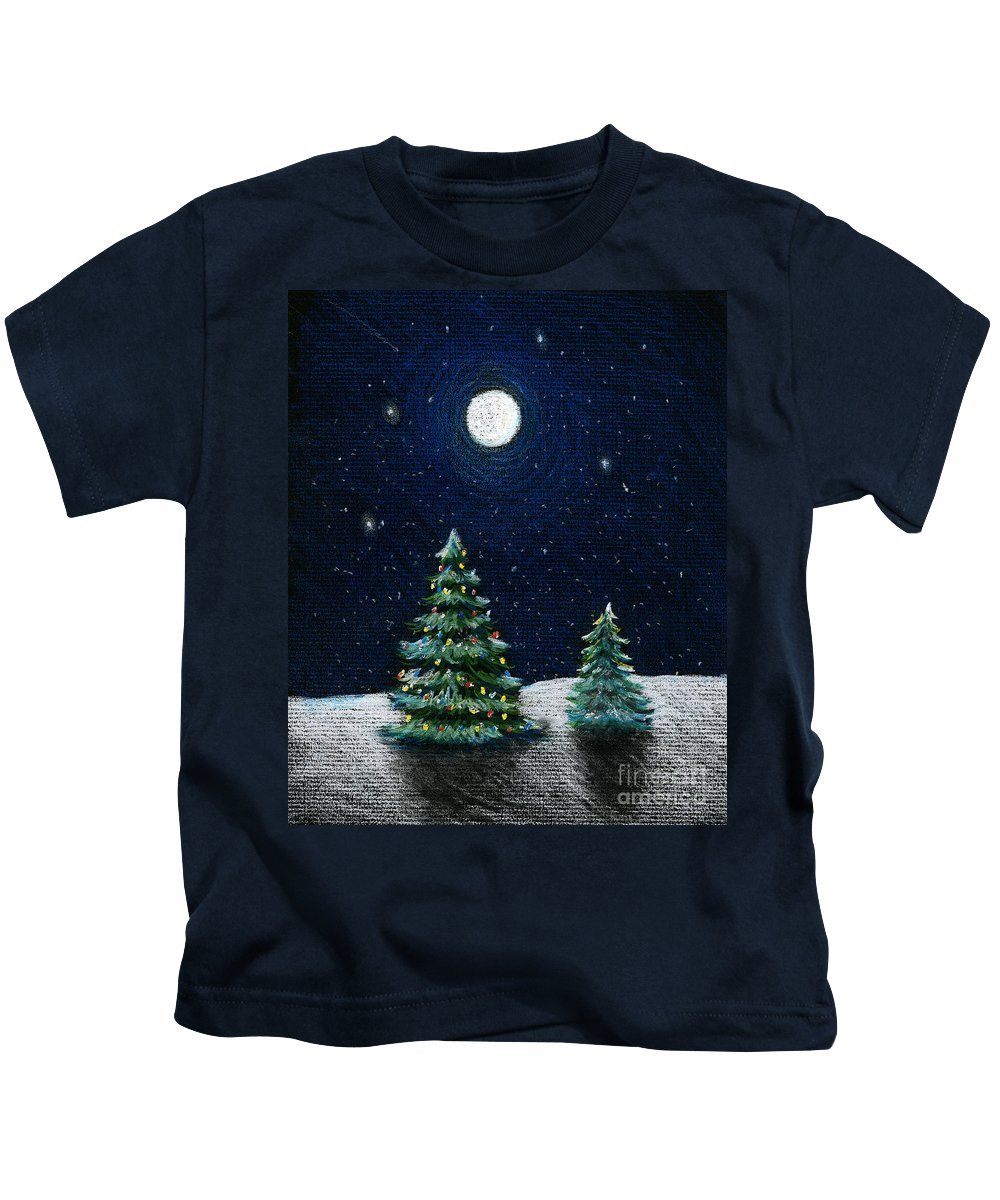 Christmas Trees Kids T-Shirt featuring the drawing Christmas Trees In The Moonlight by Nancy Mueller