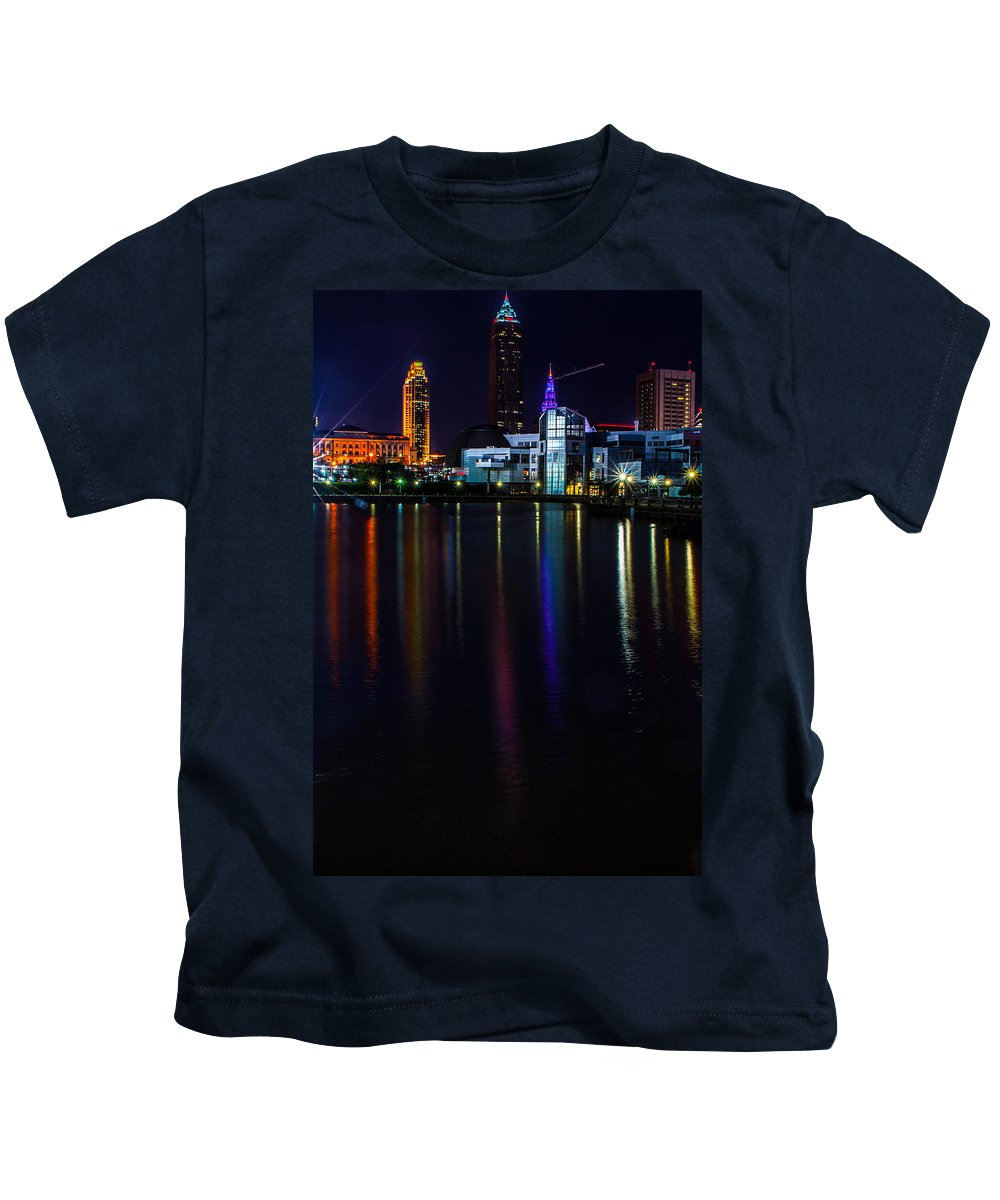 Cleveland Kids T-Shirt featuring the photograph Cleveland Nightly Reflections by Stewart Helberg