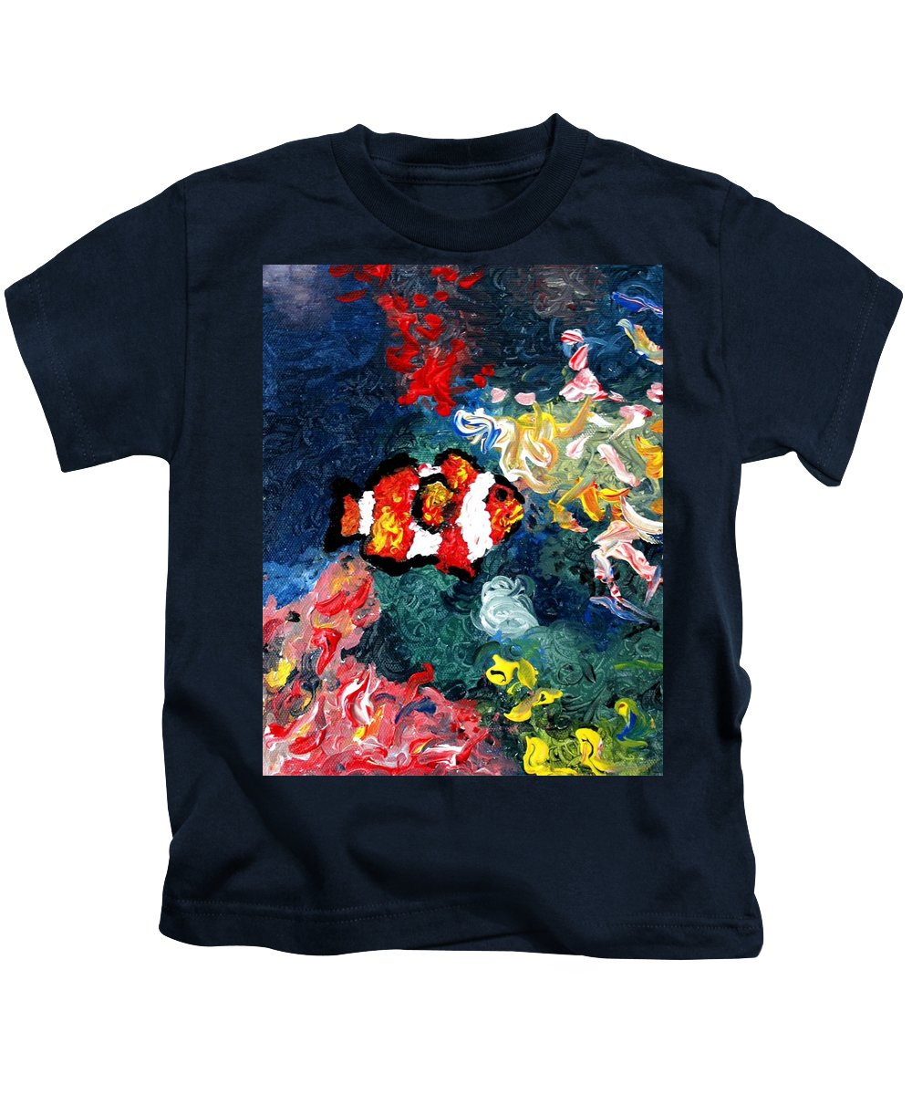 Fish Kids T-Shirt featuring the painting Clownfish by Luiza Vizoli