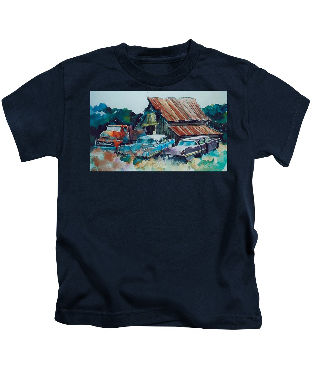 Ford Cabover Kids T-Shirt featuring the painting Cluster of Restorables by Ron Morrison