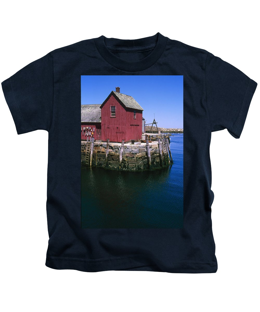 Landscape New England Rockport Motif Number 1 Kids T-Shirt featuring the photograph Cnrf0506 by Henry Butz