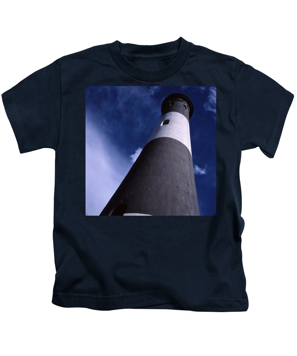 Landscape Lighthouse Fire Island Kids T-Shirt featuring the photograph Cnrf0701 by Henry Butz